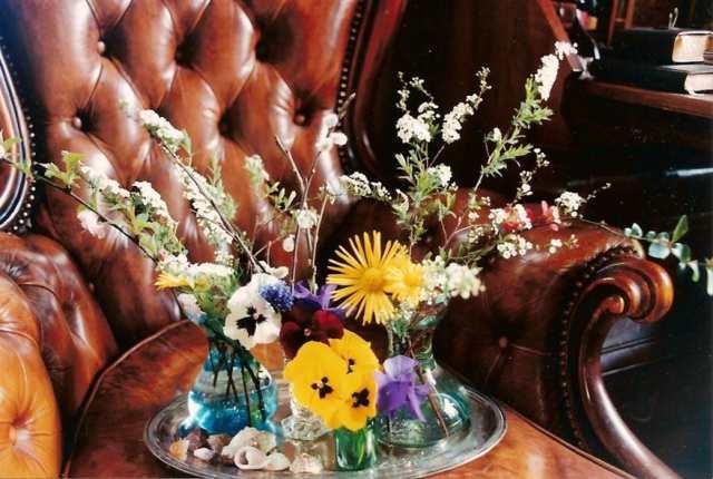 foto tafelstukje lente op stoel